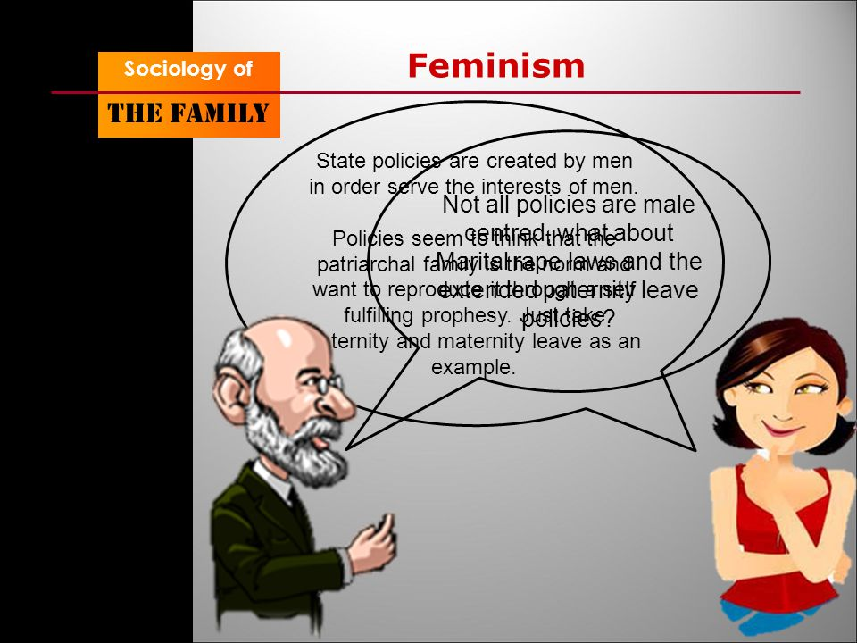 Sociology of The family Feminism State policies are created by men in order serve the interests of men.