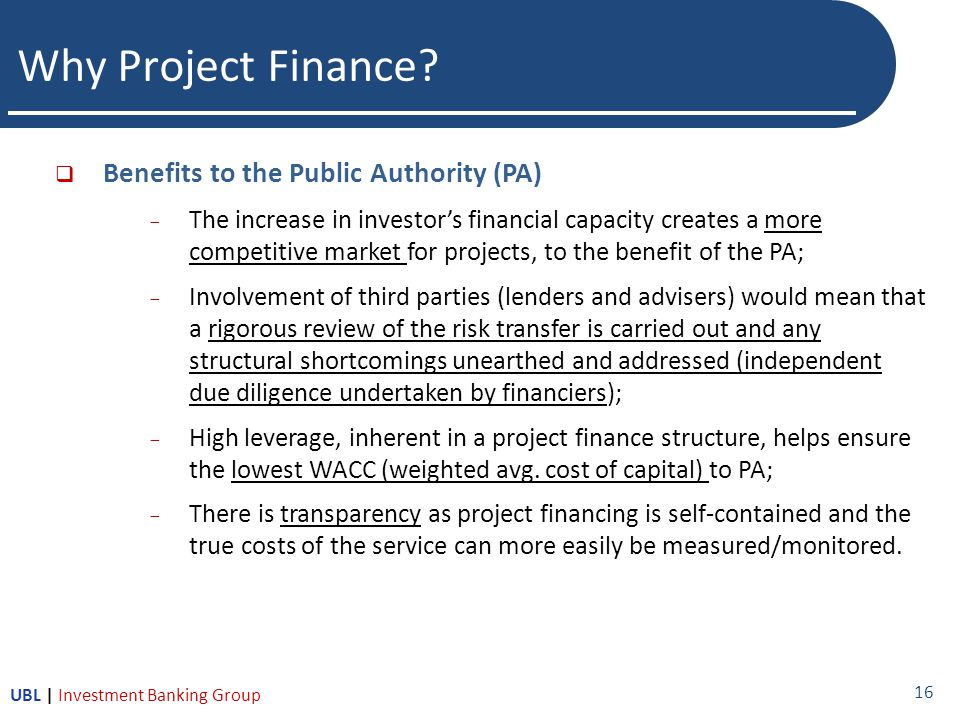 Why Project Finance.