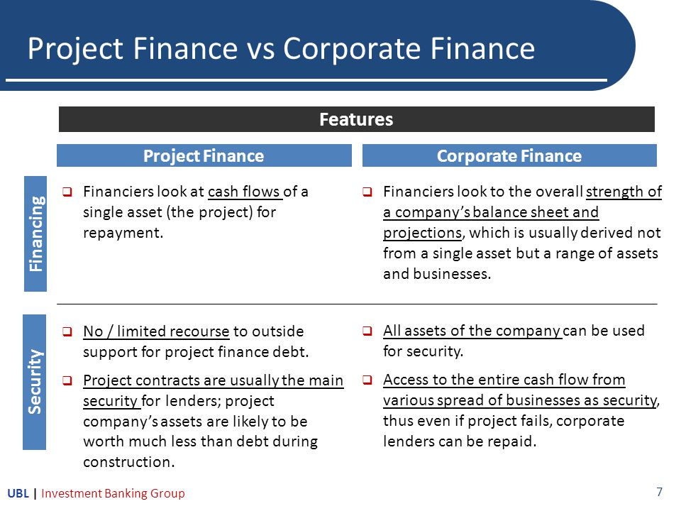  Financiers look at cash flows of a single asset (the project) for repayment.