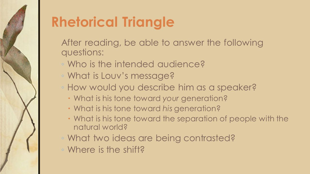 Rhetorical Triangle After reading, be able to answer the following questions: ◦ Who is the intended audience? ◦ What is Louv's message? ◦ How would yo