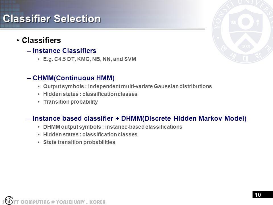 S FT COMPUTING @ YONSEI UNIV.KOREA Classifier Selection Classifiers –Instance Classifiers E.g.