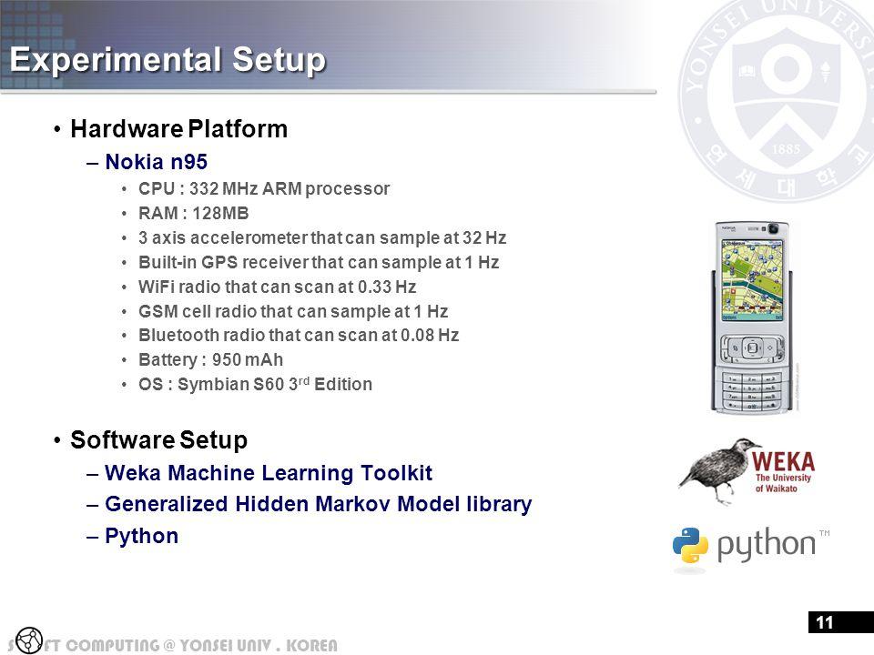 S FT COMPUTING @ YONSEI UNIV. KOREA Experimental Setup Hardware Platform –Nokia n95 CPU : 332 MHz ARM processor RAM : 128MB 3 axis accelerometer that