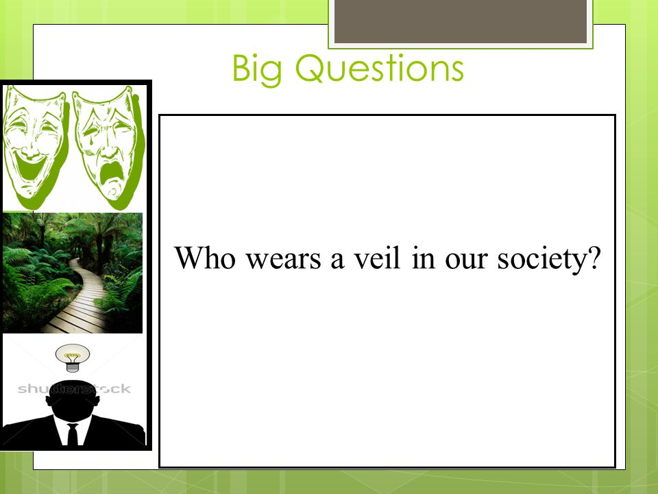 Big Questions Who wears a veil in our society