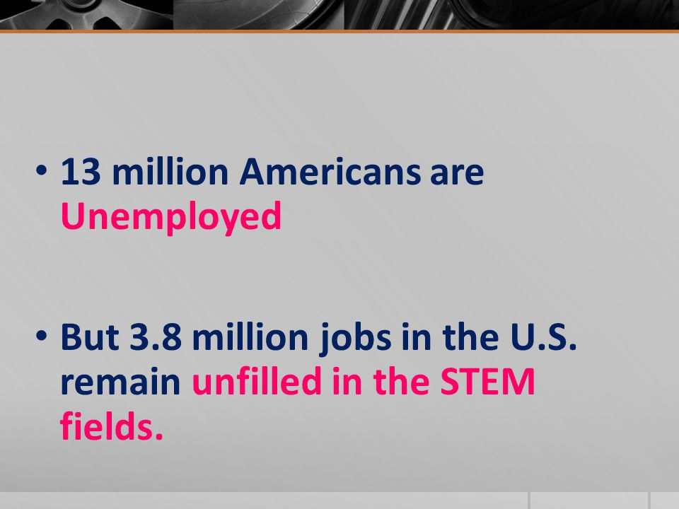 13 million Americans are Unemployed But 3.8 million jobs in the U.S. remain unfilled in the STEM fields.