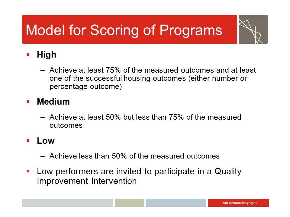 Abt Associates | pg 31 Model for Scoring of Programs  High –Achieve at least 75% of the measured outcomes and at least one of the successful housing outcomes (either number or percentage outcome)  Medium –Achieve at least 50% but less than 75% of the measured outcomes  Low –Achieve less than 50% of the measured outcomes  Low performers are invited to participate in a Quality Improvement Intervention