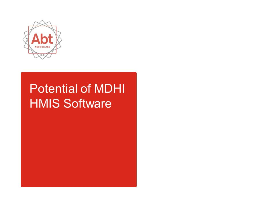 Potential of MDHI HMIS Software