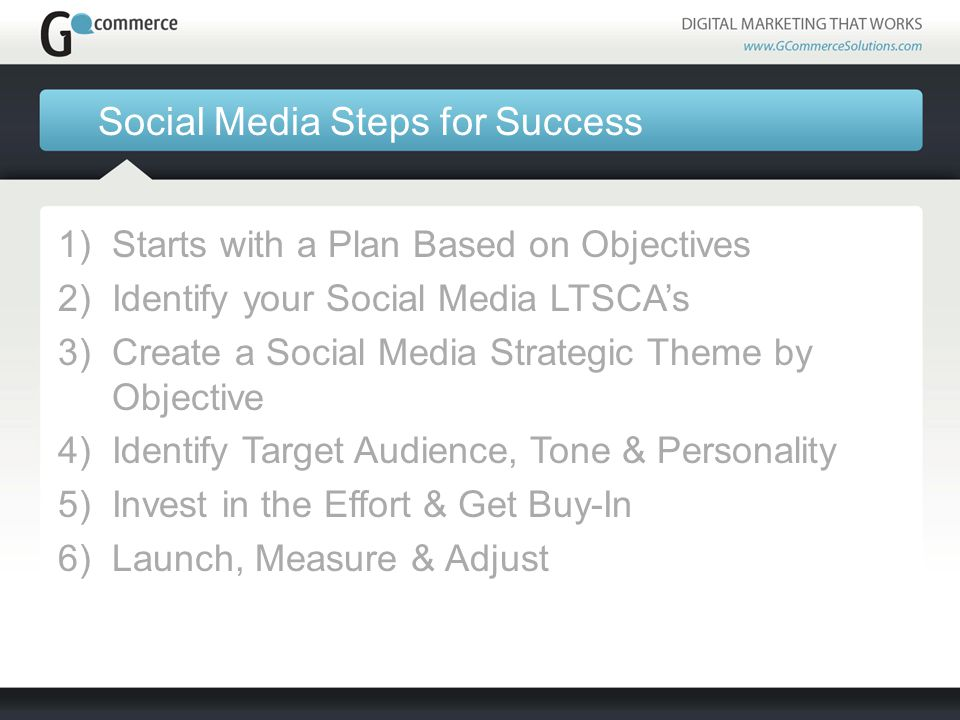 Social Media Steps for Success 1)Starts with a Plan Based on Objectives 2)Identify your Social Media LTSCA's 3)Create a Social Media Strategic Theme by Objective 4)Identify Target Audience, Tone & Personality 5)Invest in the Effort & Get Buy-In 6)Launch, Measure & Adjust