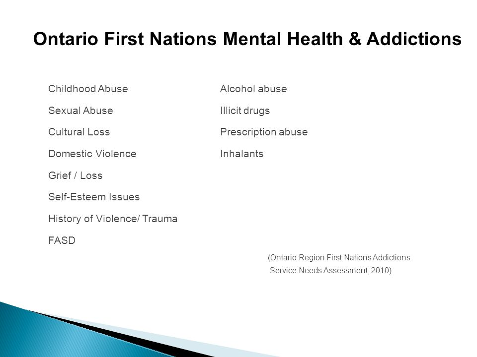 Childhood AbuseAlcohol abuse Sexual AbuseIllicit drugs Cultural LossPrescription abuse Domestic ViolenceInhalants Grief / Loss Self-Esteem Issues Hist