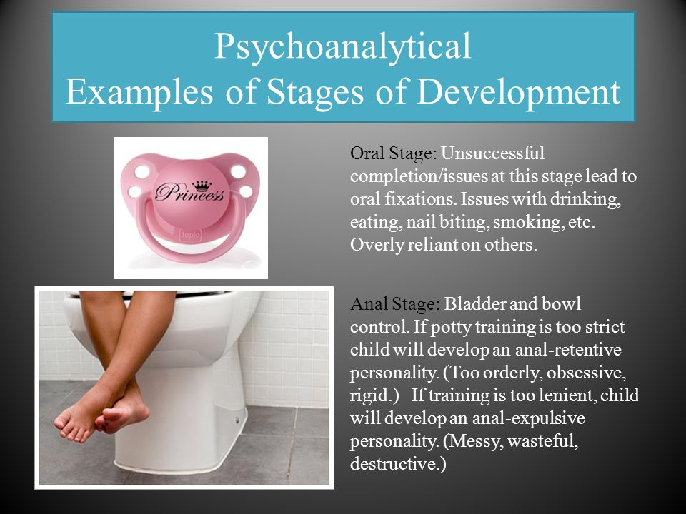 Psychoanalytical Examples of Stages of Development Oral Stage: Unsuccessful completion/issues at this stage lead to oral fixations. Issues with drinki