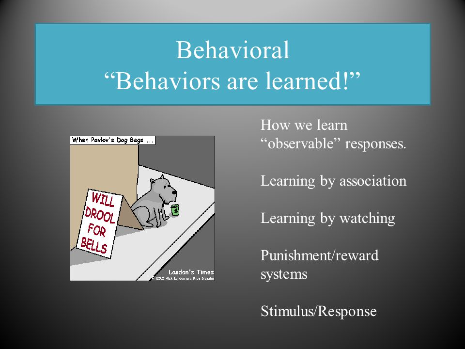 """Behavioral """"Behaviors are learned!"""" How we learn """"observable"""" responses. Learning by association Learning by watching Punishment/reward systems Stimul"""