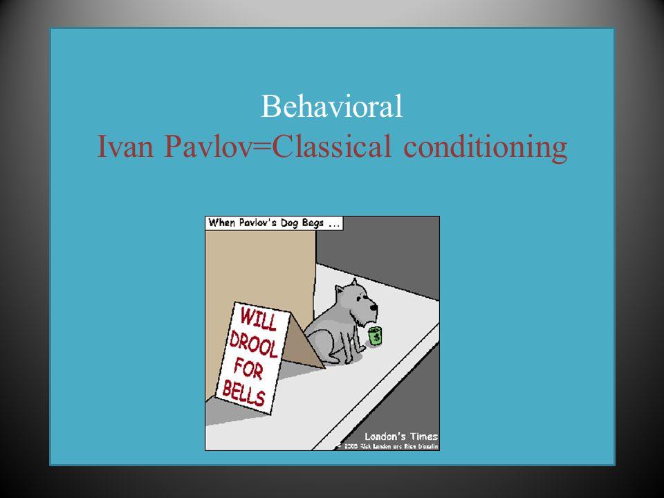 Behavioral Ivan Pavlov=Classical conditioning