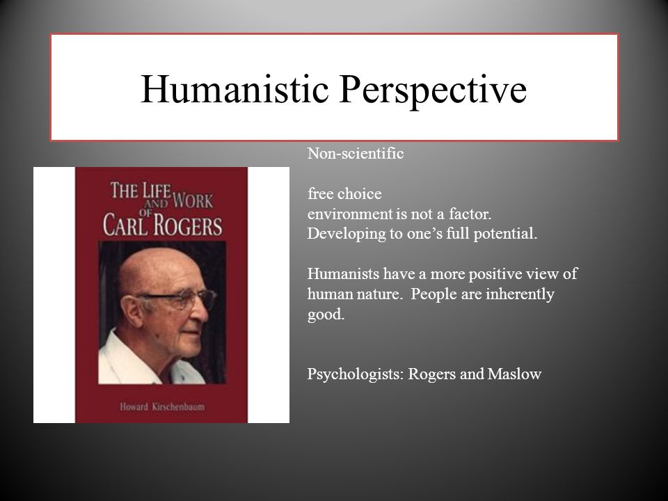 Humanistic Perspective Non-scientific free choice environment is not a factor. Developing to one's full potential. Humanists have a more positive view