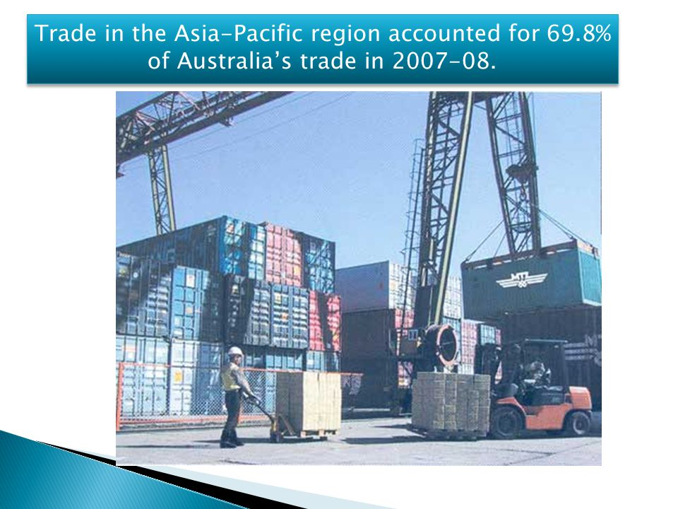 Trade in the Asia-Pacific region accounted for 69.8% of Australia's trade in 2007-08.