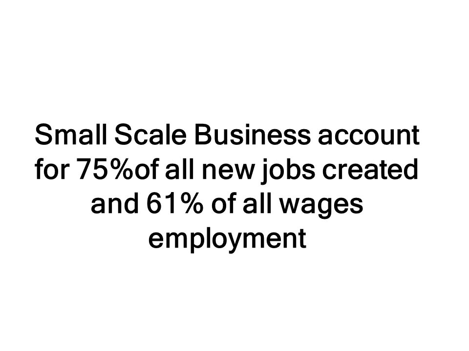 Small Scale Business account for 75%of all new jobs created and 61% of all wages employment