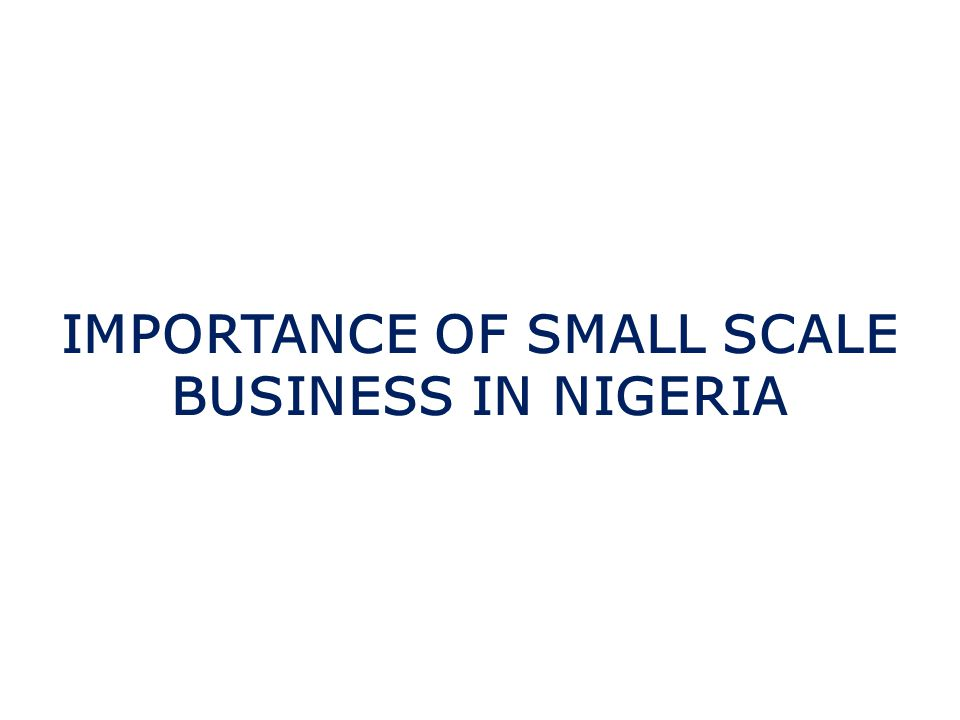 IMPORTANCE OF SMALL SCALE BUSINESS IN NIGERIA