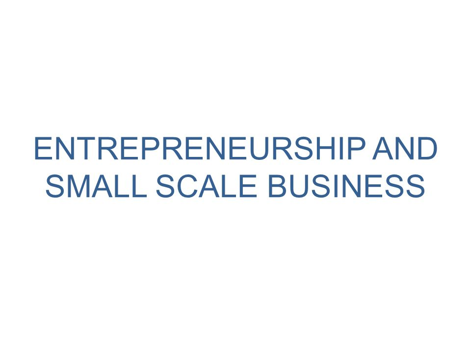 ENTREPRENEURSHIP AND SMALL SCALE BUSINESS