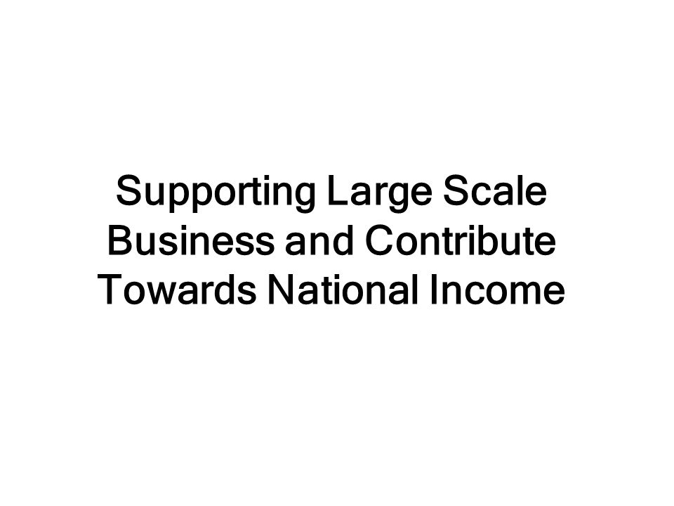 Supporting Large Scale Business and Contribute Towards National Income