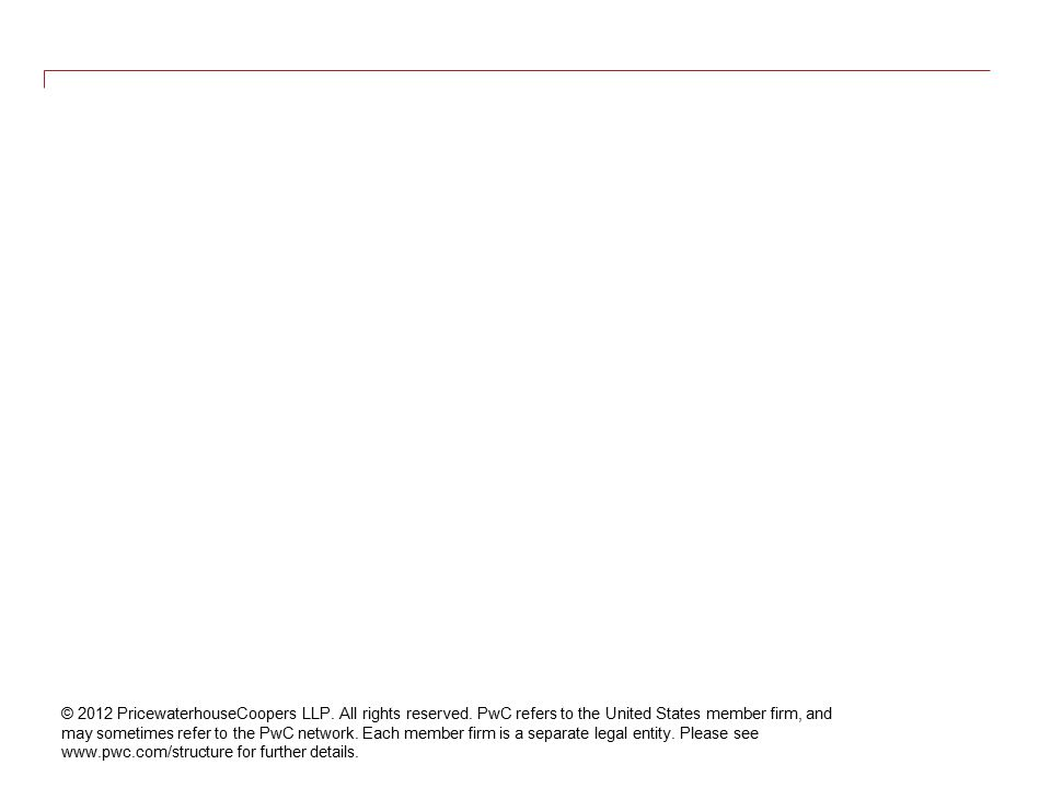© 2012 PricewaterhouseCoopers LLP. All rights reserved. PwC refers to the United States member firm, and may sometimes refer to the PwC network. Each