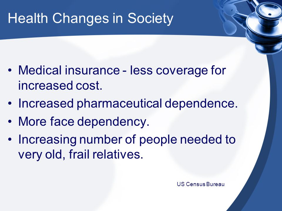 Health Changes in Society Medical insurance - less coverage for increased cost.