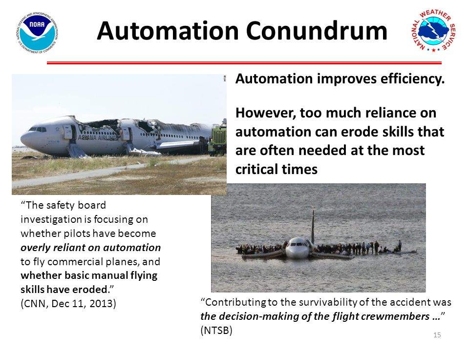 Automation Conundrum 15 The safety board investigation is focusing on whether pilots have become overly reliant on automation to fly commercial planes, and whether basic manual flying skills have eroded. (CNN, Dec 11, 2013) Automation improves efficiency.