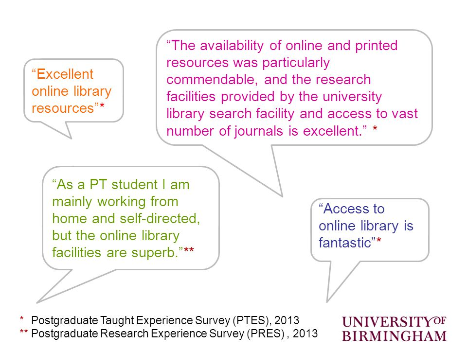 Access to online library is fantastic * As a PT student I am mainly working from home and self-directed, but the online library facilities are superb. ** The availability of online and printed resources was particularly commendable, and the research facilities provided by the university library search facility and access to vast number of journals is excellent. * Excellent online library resources * ** Postgraduate Taught Experience Survey (PTES), 2013 ** Postgraduate Research Experience Survey (PRES), 2013
