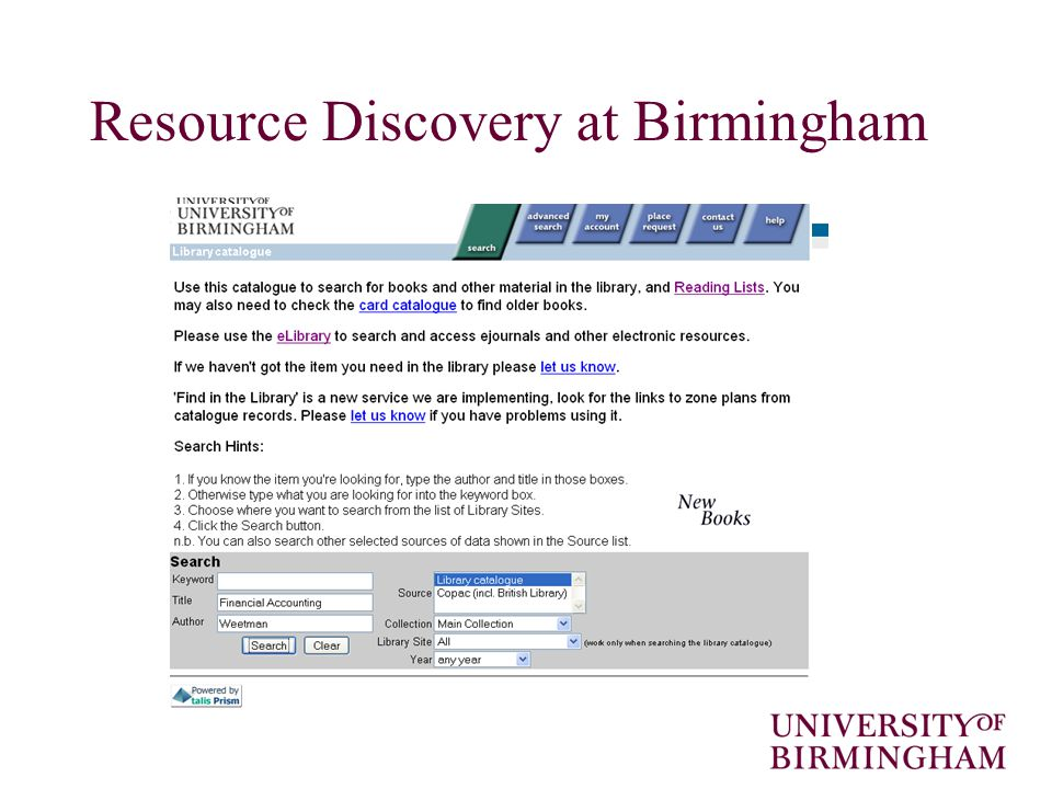 Resource Discovery at Birmingham