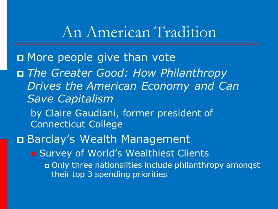 An American Tradition  More people give than vote  The Greater Good: How Philanthropy Drives the American Economy and Can Save Capitalism by Claire Gaudiani, former president of Connecticut College  Barclay's Wealth Management Survey of World's Wealthiest Clients  Only three nationalities include philanthropy amongst their top 3 spending priorities