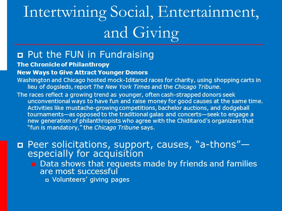 Intertwining Social, Entertainment, and Giving  Put the FUN in Fundraising The Chronicle of Philanthropy New Ways to Give Attract Younger Donors Washington and Chicago hosted mock-Iditarod races for charity, using shopping carts in lieu of dogsleds, report The New York Times and the Chicago Tribune.