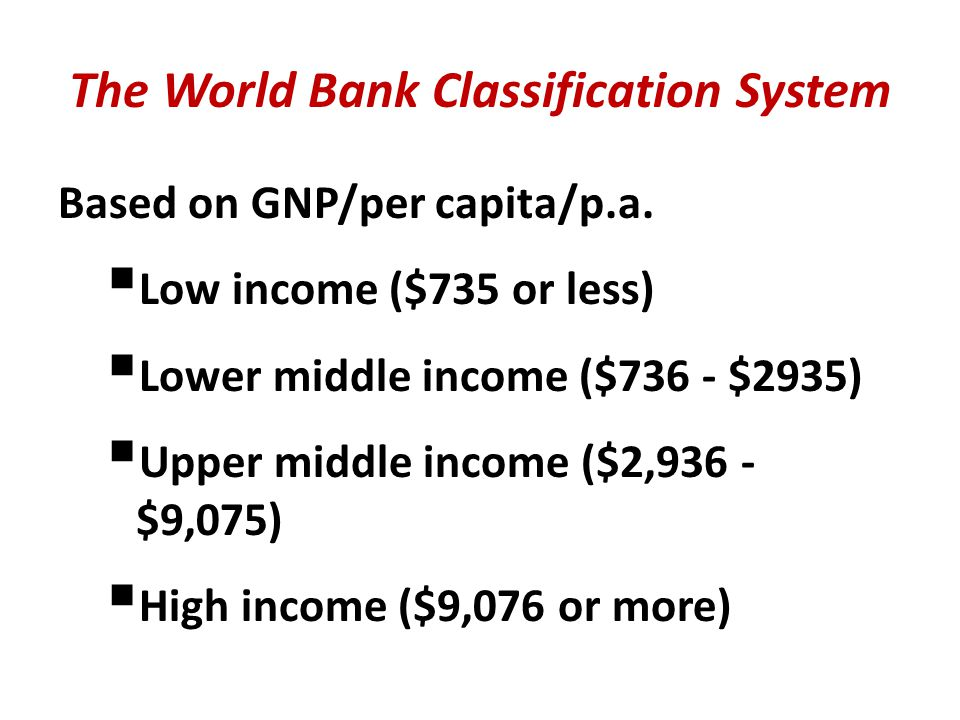 The World Bank Classification System Based on GNP/per capita/p.a.