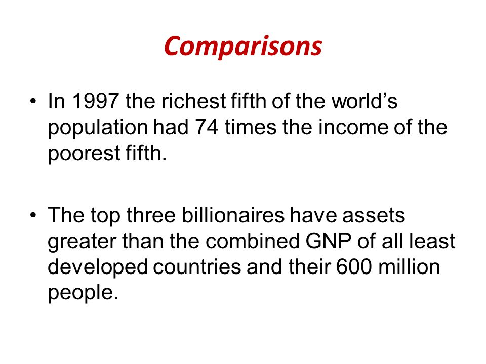 Comparisons In 1997 the richest fifth of the world's population had 74 times the income of the poorest fifth.