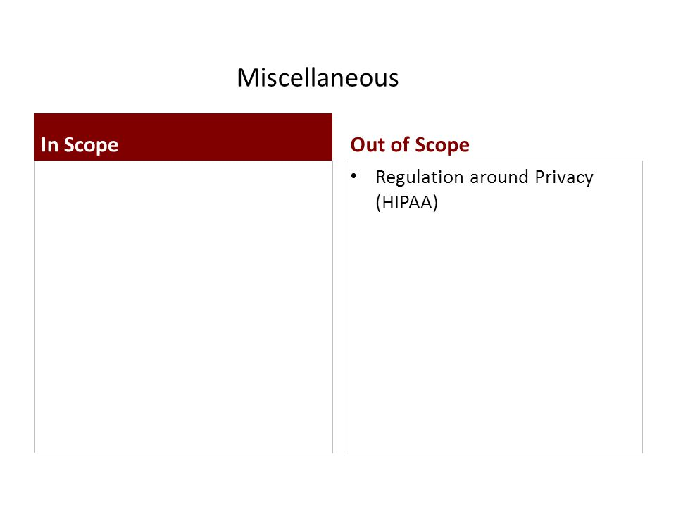 Miscellaneous Regulation around Privacy (HIPAA) In ScopeOut of Scope