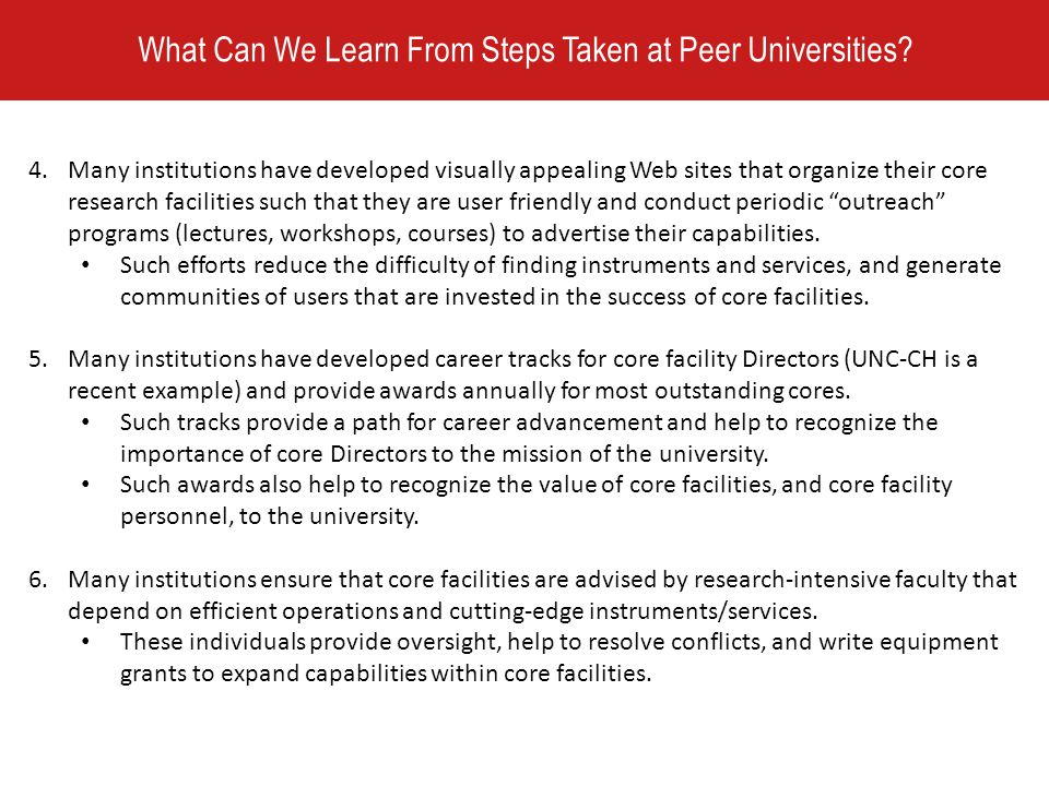 What Can We Learn From Steps Taken at Peer Universities.