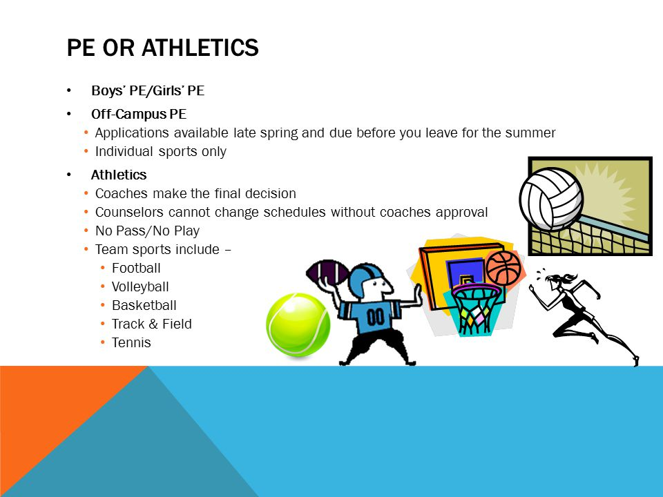 PE OR ATHLETICS Boys' PE/Girls' PE Off-Campus PE Applications available late spring and due before you leave for the summer Individual sports only Ath