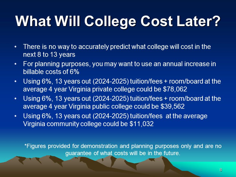 8 What Will College Cost Later? There is no way to accurately predict what college will cost in the next 8 to 13 years For planning purposes, you may