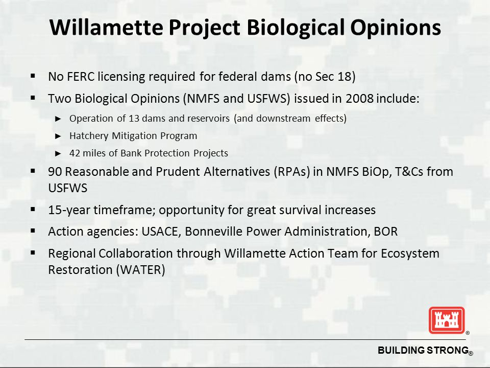 BUILDING STRONG ® Willamette Project Biological Opinions  No FERC licensing required for federal dams (no Sec 18)  Two Biological Opinions (NMFS and