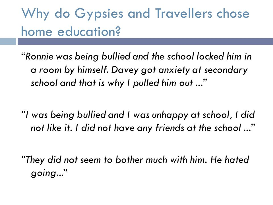 Why do Gypsies and Travellers chose home education.