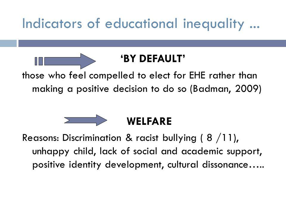 Indicators of educational inequality...