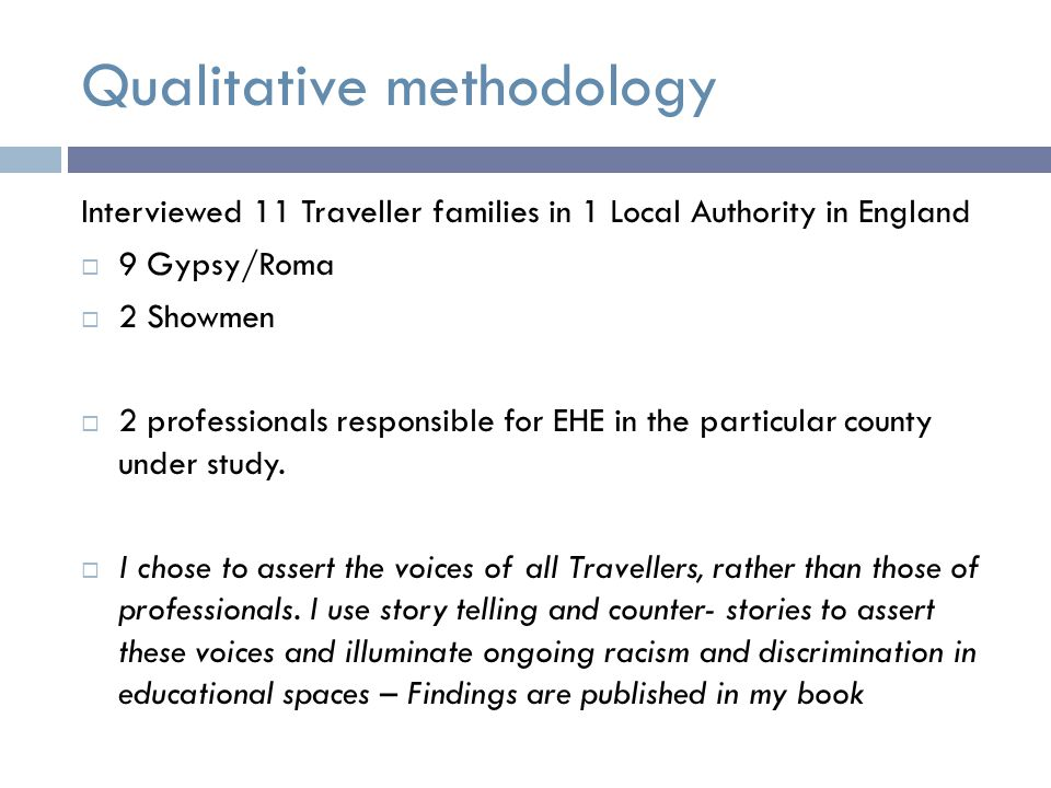 'Cultural Difference'  I found that in the literature, including government reports on Travellers and EHE there was an overreliance on cultural factors to explain away the difficulties in school and reasons for home educating (mobility & non-interest)  The discourse of Travellers' cultural difference perpetuates these communities as undeserving which impacts significantly on educational policy, practice and children's opportunities.