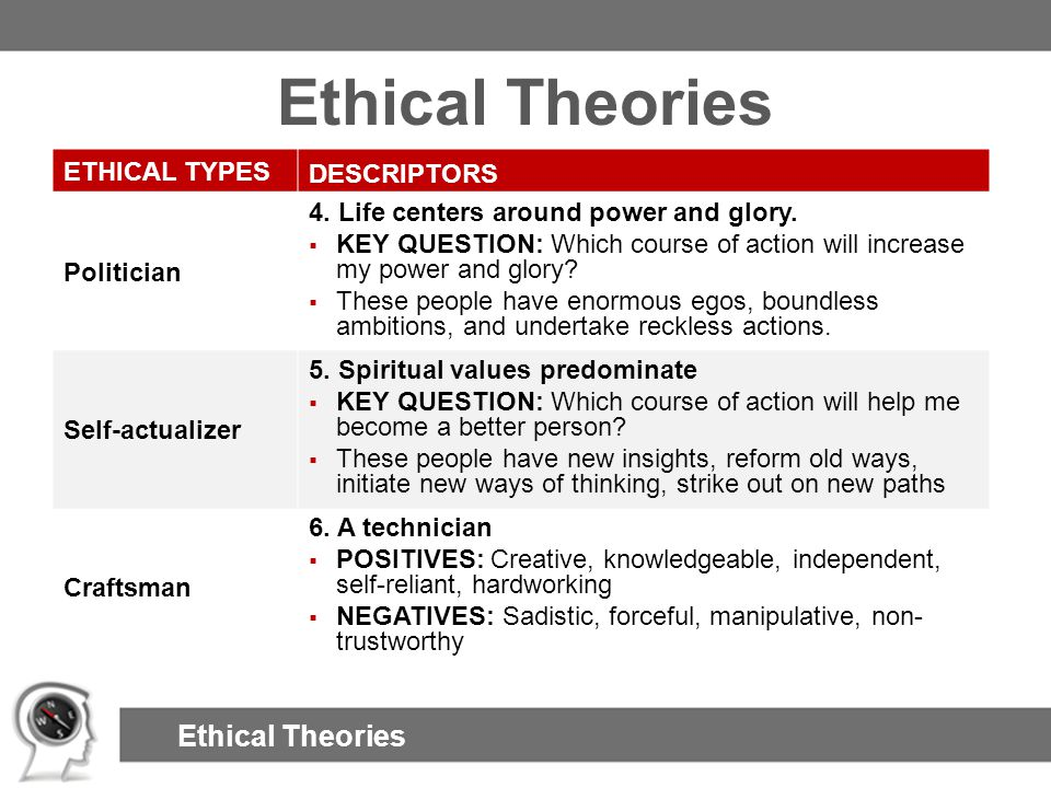 Ethical Theories ETHICAL TYPES DESCRIPTORS Politician 4. Life centers around power and glory.  KEY QUESTION: Which course of action will increase my