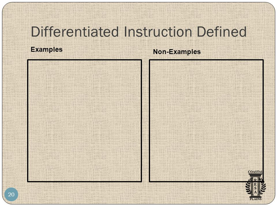 Differentiated Instruction Defined 20 Examples Non-Examples