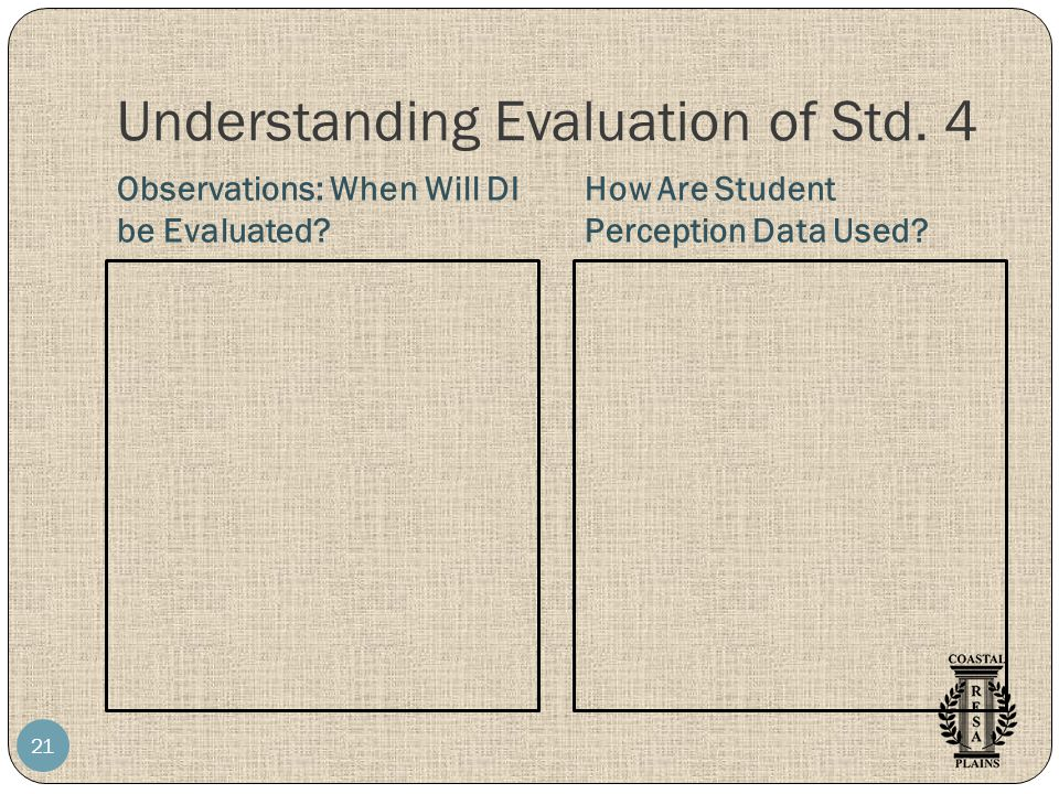 Understanding Evaluation of Std. 4 Observations: When Will DI be Evaluated.