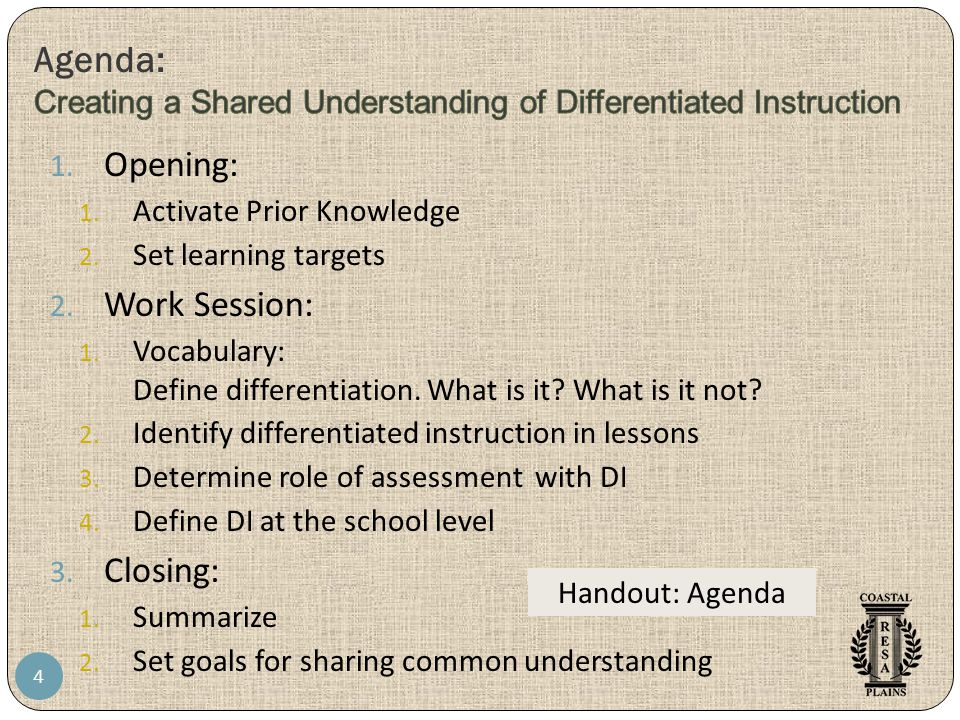 4 1. Opening: 1. Activate Prior Knowledge 2. Set learning targets 2. Work Session: 1. Vocabulary: Define differentiation. What is it? What is it not?