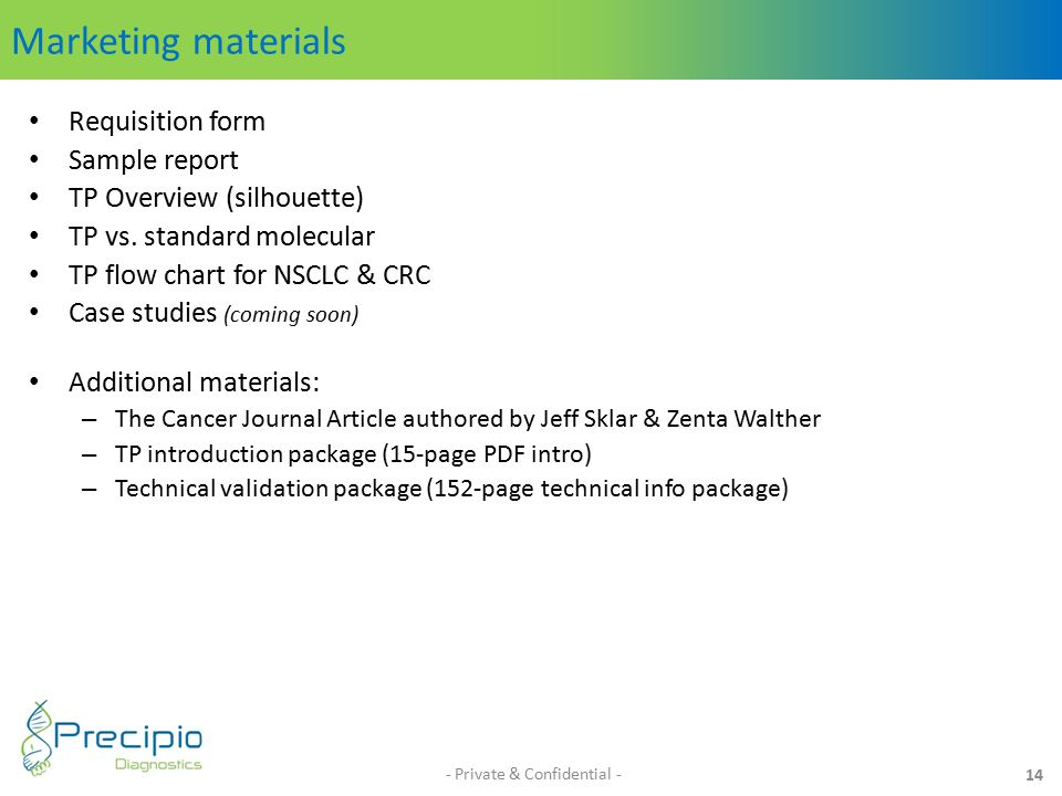 Marketing materials Requisition form Sample report TP Overview (silhouette) TP vs.
