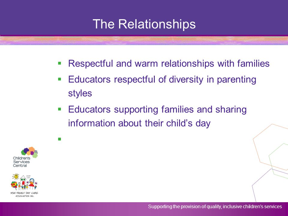 Supporting the provision of quality, inclusive children's services The Relationships  Respectful and warm relationships with families  Educators res