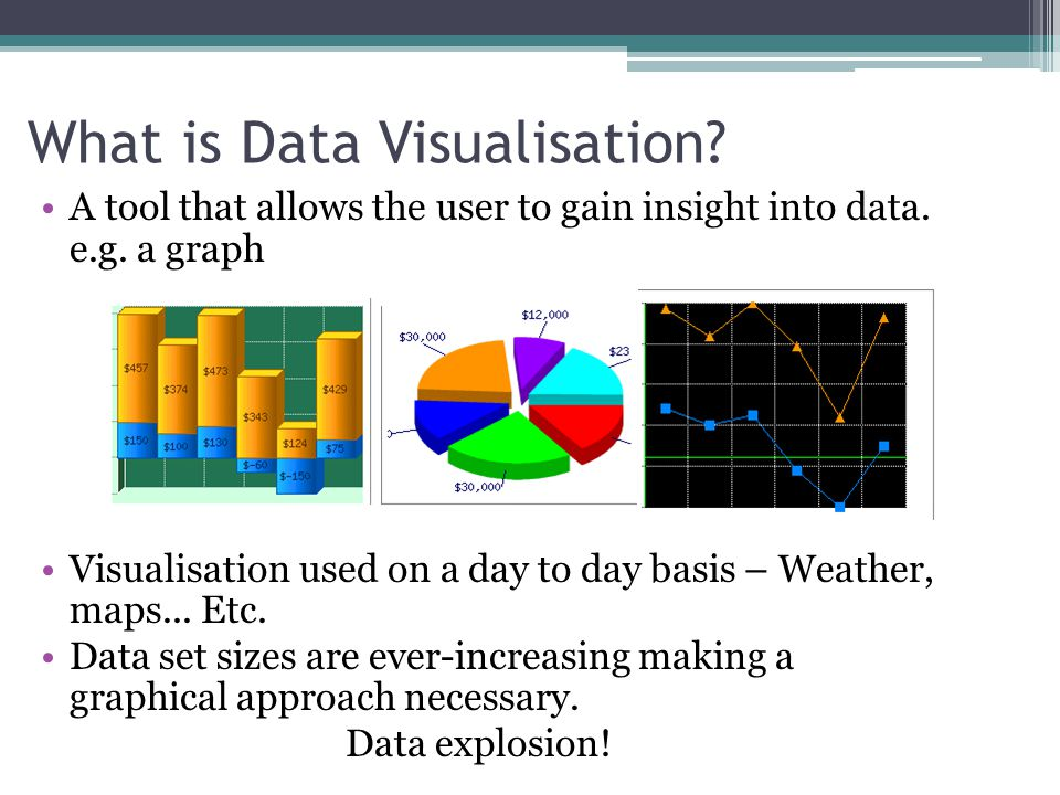 What is Data Visualisation. A tool that allows the user to gain insight into data.