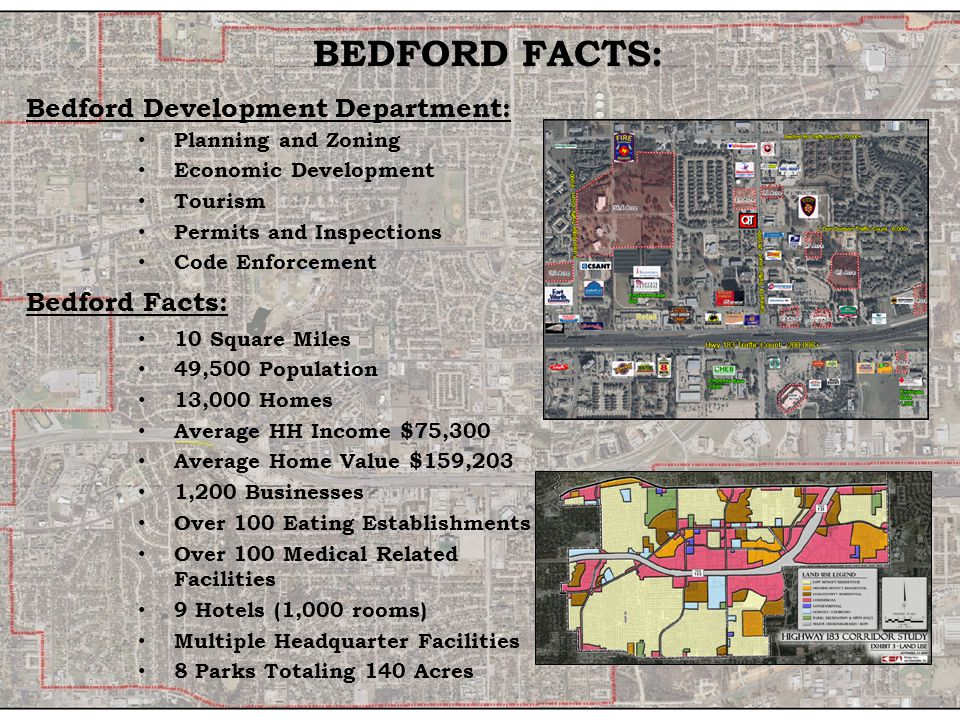 BEDFORD FACTS: Bedford Development Department: Planning and Zoning Economic Development Tourism Permits and Inspections Code Enforcement Bedford Facts: 10 Square Miles 49,500 Population 13,000 Homes Average HH Income $75,300 Average Home Value $159,203 1,200 Businesses Over 100 Eating Establishments Over 100 Medical Related Facilities 9 Hotels (1,000 rooms) Multiple Headquarter Facilities 8 Parks Totaling 140 Acres