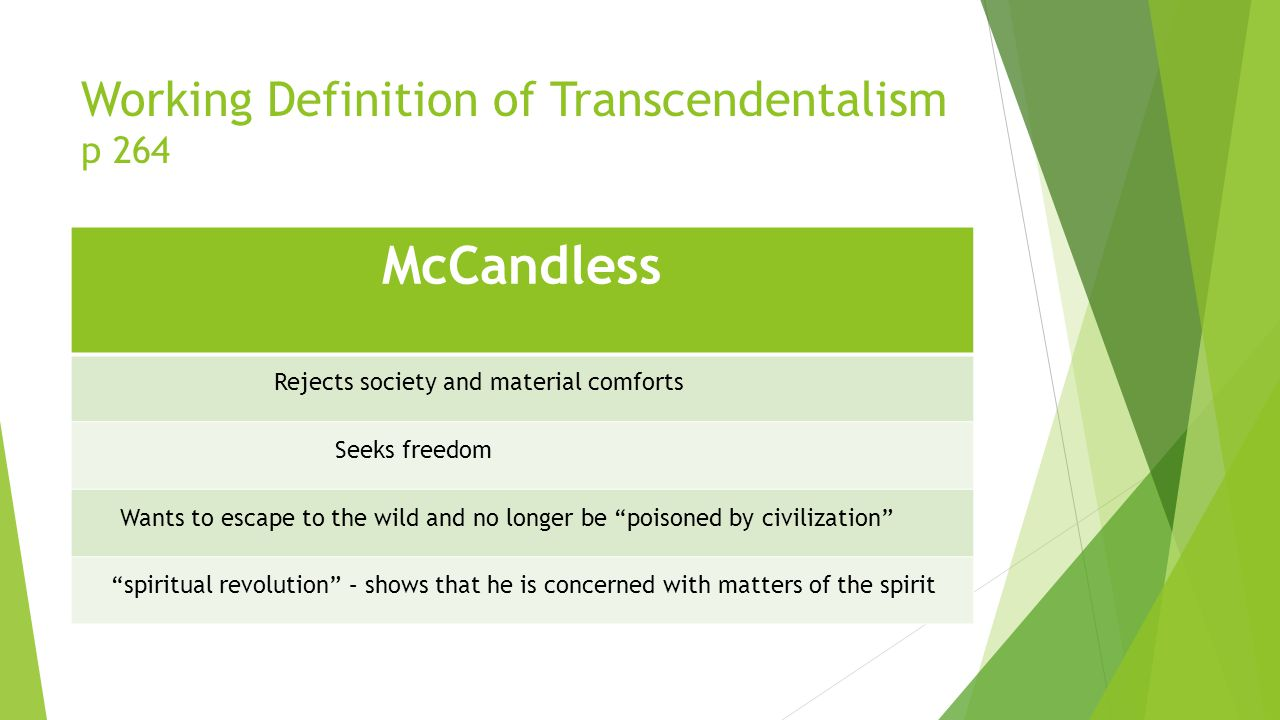 Working Definition of Transcendentalism p 264 McCandless Rejects society and material comforts Seeks freedom Wants to escape to the wild and no longer be poisoned by civilization spiritual revolution – shows that he is concerned with matters of the spirit