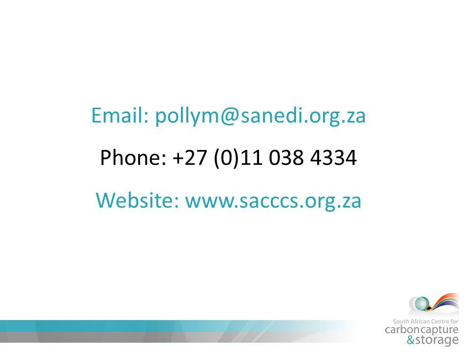 Email: pollym@sanedi.org.za Phone: +27 (0)11 038 4334 Website: www.sacccs.org.za