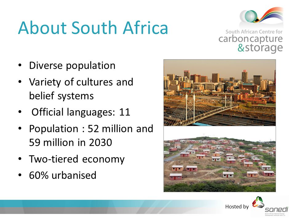 Hosted by About South Africa Diverse population Variety of cultures and belief systems Official languages: 11 Population : 52 million and 59 million in 2030 Two-tiered economy 60% urbanised