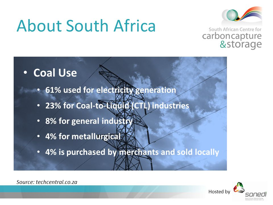 Hosted by About South Africa Coal Use 61% used for electricity generation 23% for Coal-to-Liquid (CTL) industries 8% for general industry 4% for metallurgical 4% is purchased by merchants and sold locally Source: techcentral.co.za